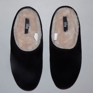 New Fitflop Chrissie black suede/shearling slipper